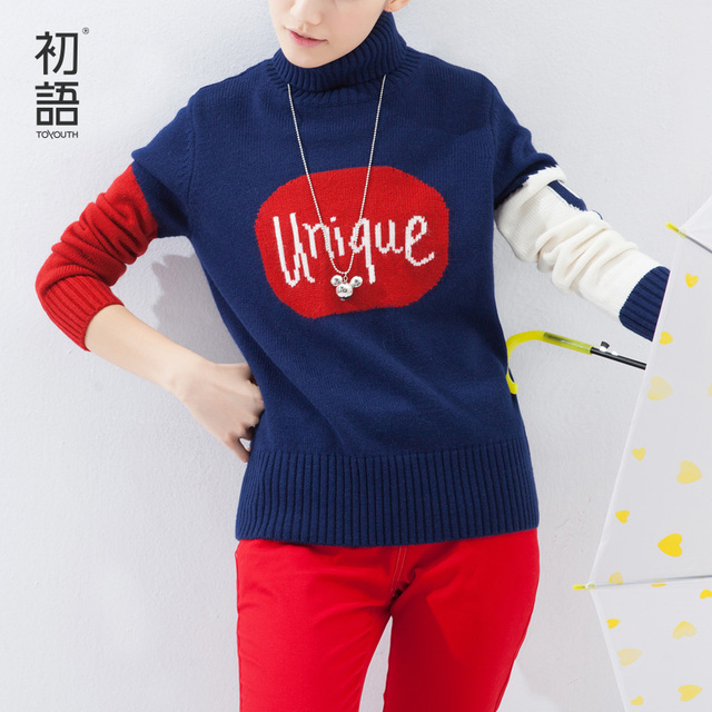 Toyouth Женщины свитер Letter Printed Длинный Рукав Вязанный Winter Pullovers Ladies ...