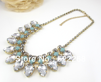 New Arrival 2013 Fashion Chunky Choker Blb Statement Rhinestone Necklace Min order is $15, Free Shipping
