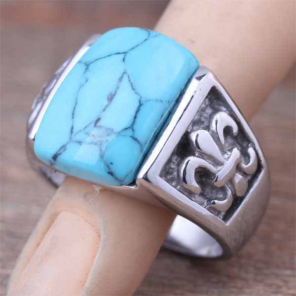 Top Fashion Stainless Steel Men's Natural Blue Turquoise Stone Ring Plant Fleur De Lis Jewelry 2015 US Size 7 8 9 10 11(A092)(China (Mainland))