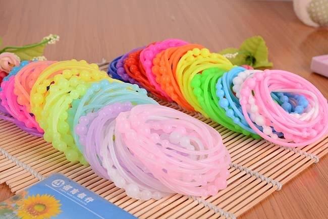 20pcs/lot Cute Mulity Color Balls Bracelets Silicone 10pcs(Night Luminous)+10pcs(Solid Color) Girl Women Hair Rubber Bands Mixed(China (Mainland))