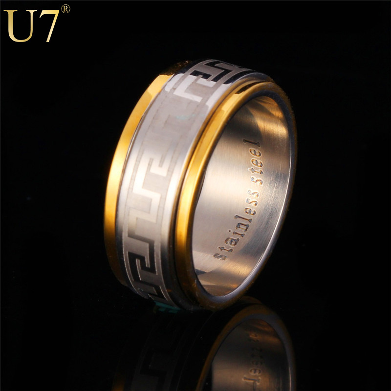 U7 Vintage Mens Letter Ring With Pattern Trendy 18K Gold Plated Men Brand Jewelry Stainless Steel Round Wedding Band Ring R335(China (Mainland))