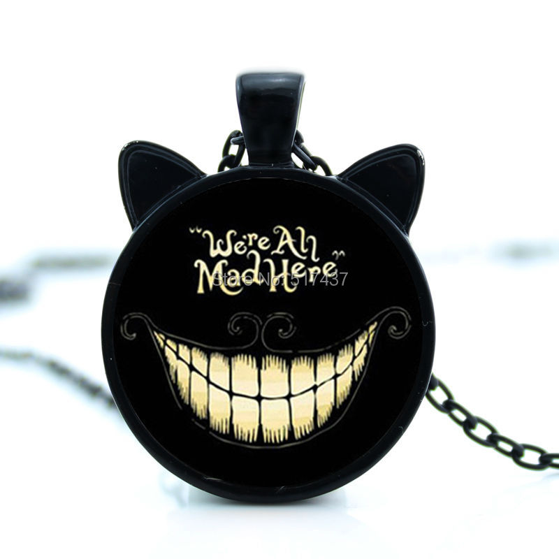 CN-00714 Alice Adventures in Wonderland Jewelry Set Cheshire Cat Necklace Were Are All Quite Mad Here Quote Bracelet Silver Ring Gifts
