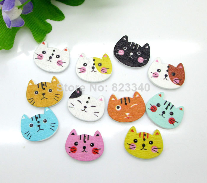 Hot Sale Mixed 2 Holes Cut Animal Cat Shape Wooden Buttons Sewing Scrapbooking Decorative Button 20x16mm 100pcs/lot(China (Mainland))