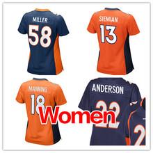 Women #58 Von Miller #18 Peyton Manning Adult Ladies 13 Siemian #22 ANDERSON Navy Blue Orange Elite(China (Mainland))