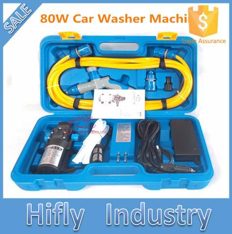 Free Shipping 12V 80W 220V High Pressure Car Washing Portable Washing Machine Electric Car Washer (CE ROHS)(China (Mainland))