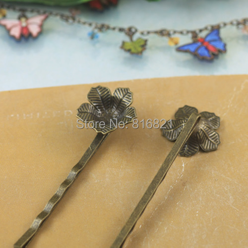 15x4mm Blank Bobby Pins Bases Settings 3D Hollow Circle Flower pads Hair Clip Hairpins Crafts DIY Findings Antique bronze tone(China (Mainland))