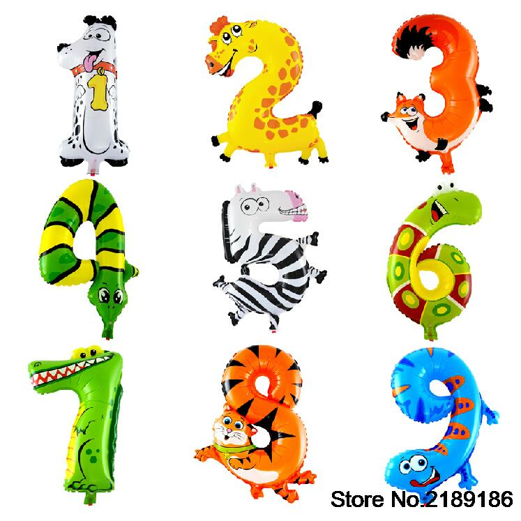1PCS 16 inch Animal Number Foil Balloons Kids Party Decoration Ballon Happy Birthday Wedding Decoration(China (Mainland))