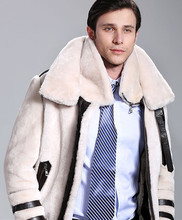 Free shipping European style Men's winter cold-proof sheepskin and sheep fur coat soft comfortable warm(China (Mainland))