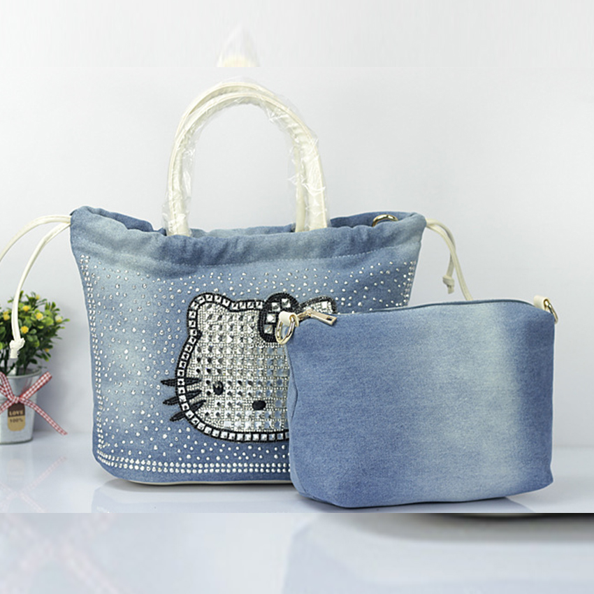 Kitty Women handbags casual shoulder Messenger Bag for girls Denim fashion female package<br><br>Aliexpress