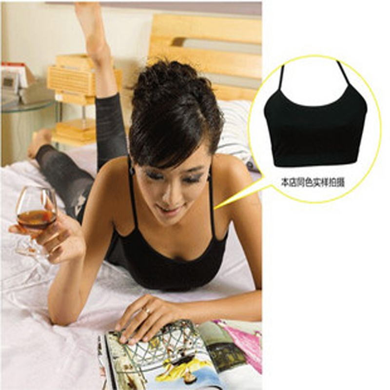 2 pics mixed 10 colors high quality Half top straps wrapped chest anti emptied camisoles(China (Mainland))