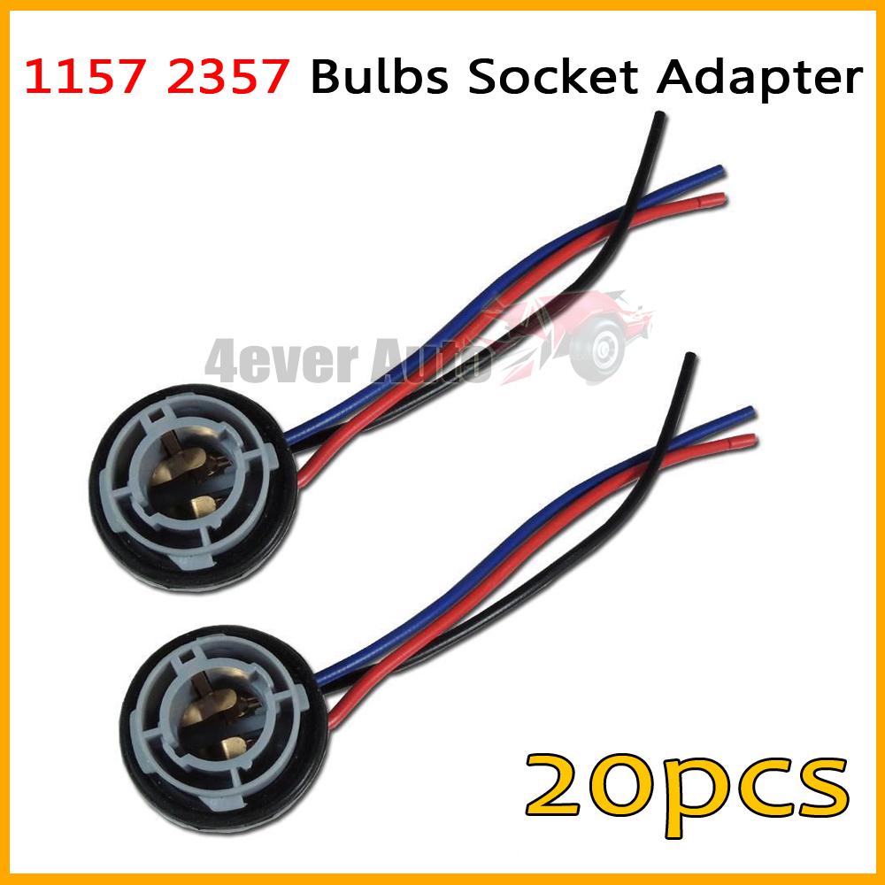20pcs 1157 2057 2357 7528 1157A BA15D 2357A 2397 BA15D LED Bulb Backup Light Turn Signal Light Socket Harness Plug Adapter Base(China (Mainland))