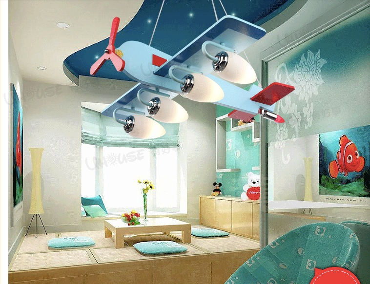 Fast Shipping Childrens Bedroom Pendant Lights Cartoon  Ceiling Lamps 4 head E27 base Children Lamp<br><br>Aliexpress