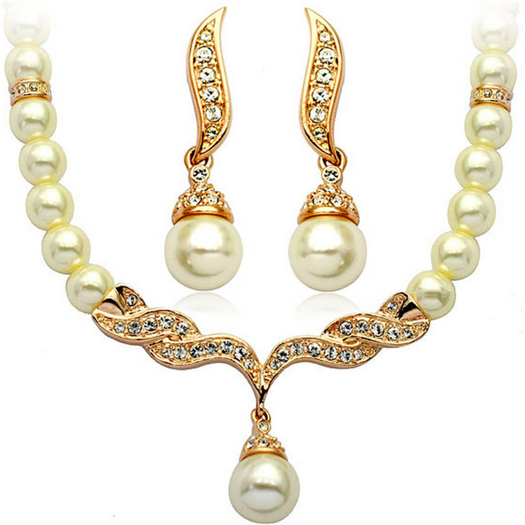 Fashion Party Jewellery Crystal Joyeria Wedding Wings Pearl Perlas Beads Bridal Zircon Necklace &Earrings Jewelry Sets for Women(China (Mainland))