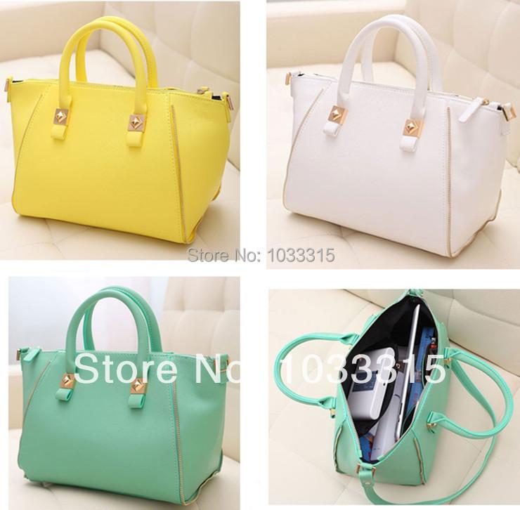 New Mint Satchel Green Women'S Fashion Bag PU Tote Handbag Vrouwen Lederen Handtassen 2015 Ladie Handbags Shoulder Bag For Women(China (Mainland))