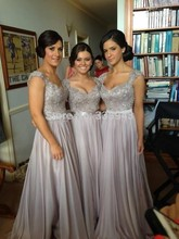 New Arrival 2017 A-line Sweetheart Cap Sleeves Gray Chiffon Squins Long Bridesmaid Dresses Wedding Party Dresses(China (Mainland))