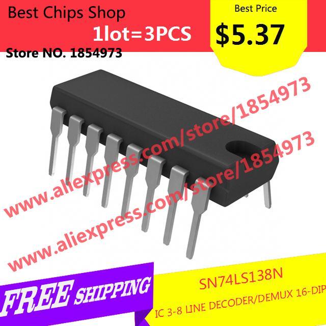 Free Shipping 3PCS=$5.37 Electronic Kit SN74LS138N IC 3-8 LINE DECODER/DEMUX 16-DIP LS138 74LS138(China (Mainland))