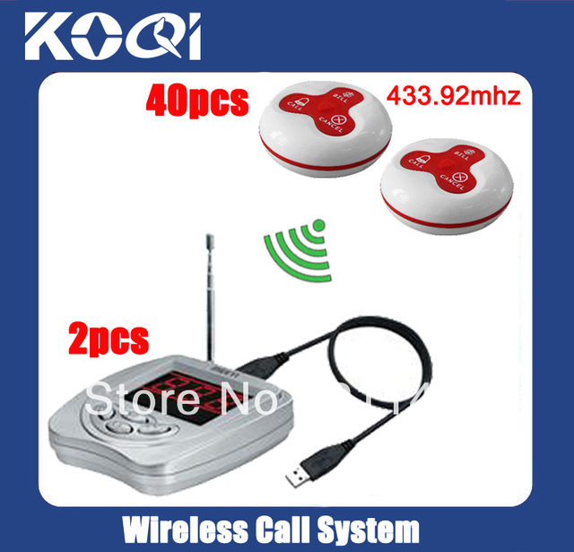433.92mhz Nursing call system W 2pc display pager via management software+40pcs Call bell Freeshipping by EMS/DHL