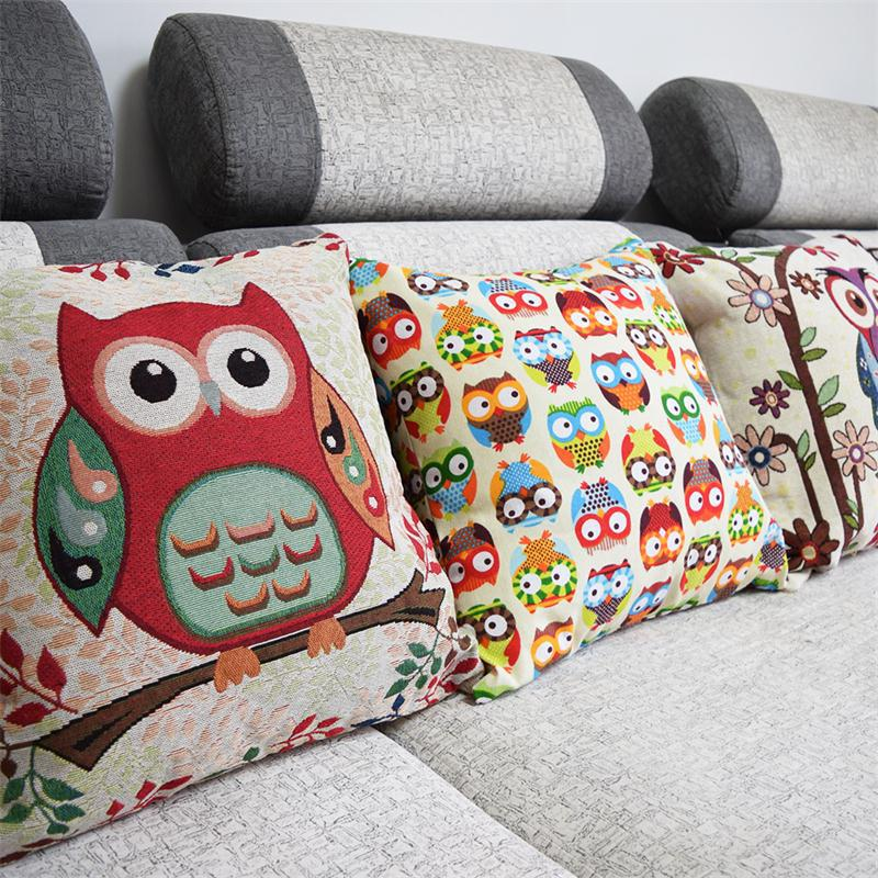 0119 Clever owls kids bedding set cotton linen comforter bedding sets pillowcase new home decoration kids gift pillow cover(China (Mainland))