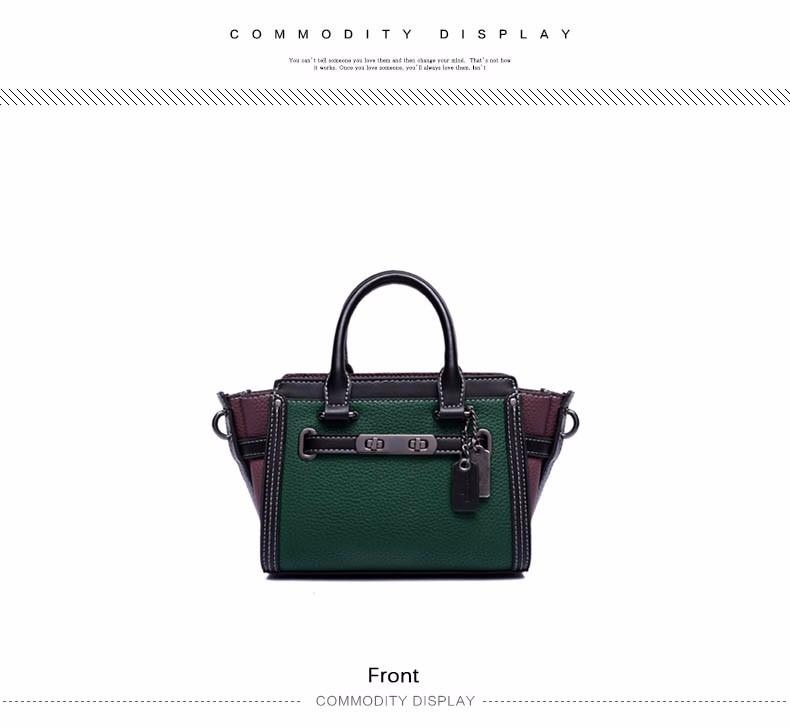 Women Contrast Color Handbag Fashion Thin Chain Shoulder Strap Green Bag Ladies Designer Classy PU Shoulder Bag
