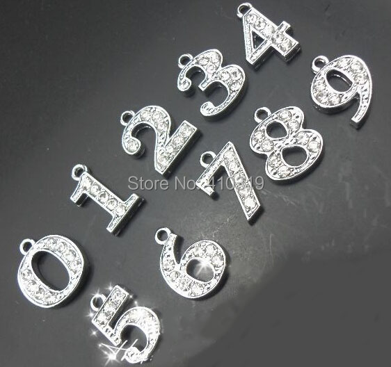 Wholesale 100pcs/lot 0-9 rhinestone number pendant hang charm fit for DIY phone strips