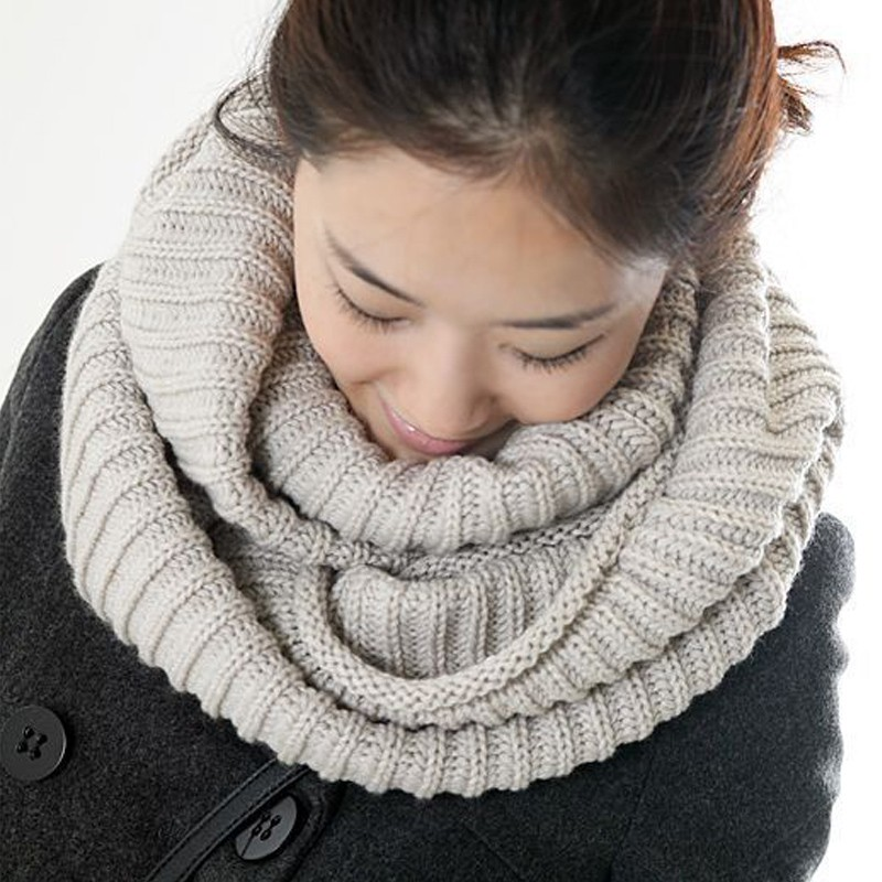 Hot Sale 2016 New fashion style Unisex Winter knitted Scarves Wool Collar Neck Warmer woman Crochet Ring Loop  woman Scarf
