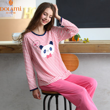 Autumn Women Pajama Sets Cotton Long Pajamas Sleepwear Cute Stripe Girls Sleep & Lounge O-Neck Pijama Character Loose Pyjamas
