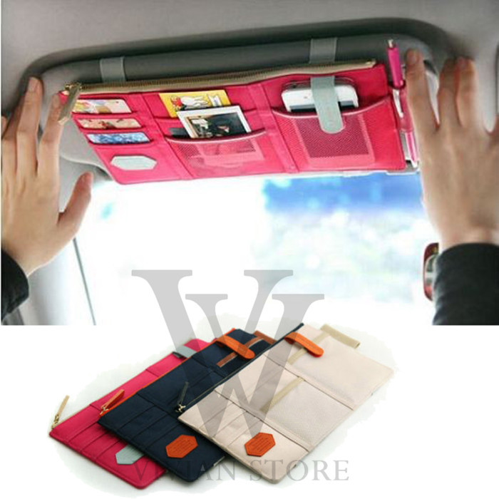 Sun Visor Point Pocket Organizer Pouch Bag Pocket Card Storage Holder In-Car free shipping hot and cheap rose red color(China (Mainland))