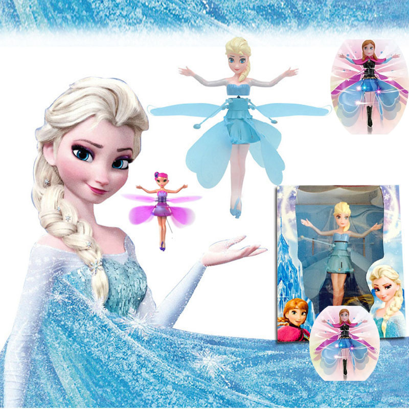 Original Fever Cheap Plastic Boneca Princess Flying Fairy Elsa and Anna Infrared Induction Doll For Girl Brinquedos Electric Toy(China (Mainland))