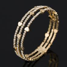 Buy New Fashion Elegant Women Bangle 3 row Wristband Bracelet Crystal Cuff Bling Lady Gift Bracelets & Bangles B020 for $2.92 in AliExpress store