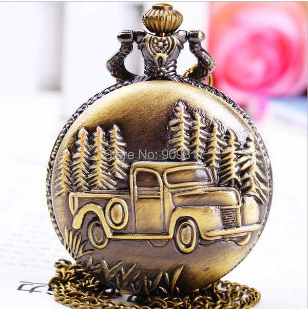 NEW Classic vans Bronze antiques quartz Pocket watch necklace FOR women Men High quality 10pcs/lot(China (Mainland))