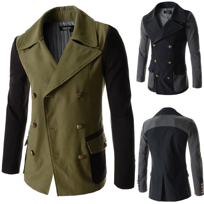New 2015 Fashion Double Breasted Winter Men Trench Coats/Brand Long Slim Trench For Men/Plus Size Casual Coats Men's Clothing(China (Mainland))