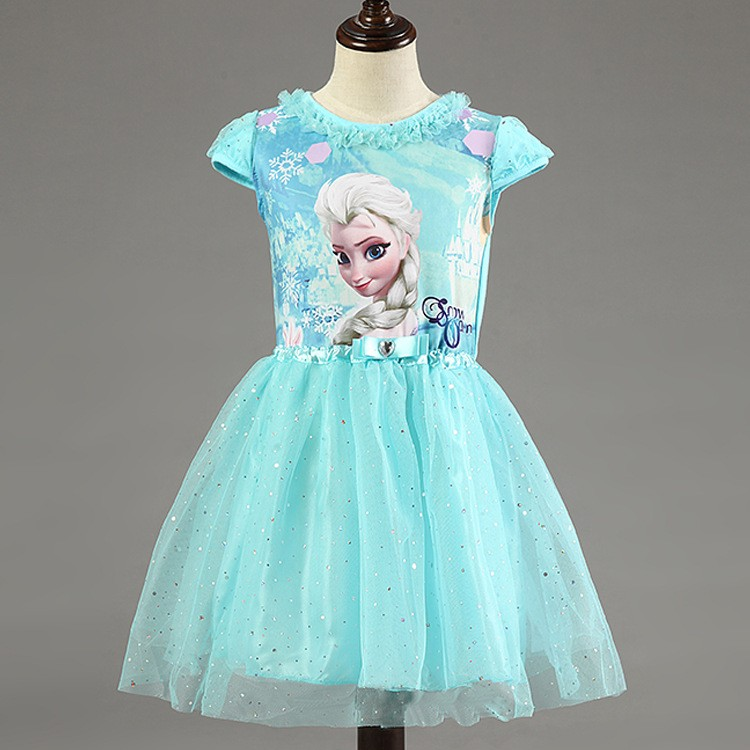 2016 New Elsa Anna Dress Girls Dress Cosplay Party Dresses Princess Children Baby Kids Baby Vestidos toddler Dresses(China (Mainland))