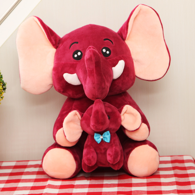 large 40cm wine red cartoon elephant mother&child plush toy soft doll throw pillow birthday gift b0947(China (Mainland))