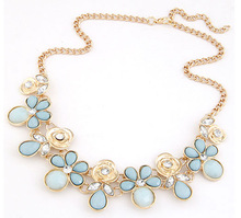 Hot Brand Women Rhinestone Necklaces & Pendants Crystal Flower Choker Statement Necklace For Wedding CX-HT127(China (Mainland))