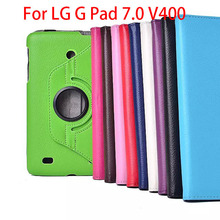 2015 New Fashion Case For LG G Pad V400 V410 7.0 inch Tablet PU Leather Case 360 Degree Rotating Cover with Free Stylus Pen