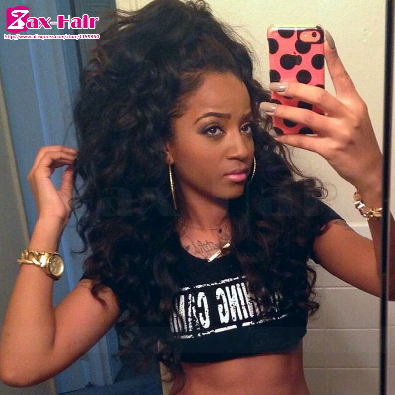 Фотография human hair full lace wigs peruvian  virgin customized full lace wigs bleached knots baby hair for black women curly natural