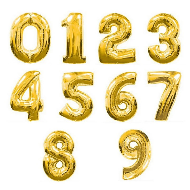 2016 Hot 32inch Air Gold Number Balloon Aluminum Foil Helium Balloons Birthday Wedding Party Decoration Celebration Supplies(China (Mainland))