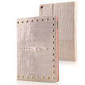 Free Shipping Fashion Fake Crocodile PU Leather Flip Case for Ipad mini 4 smart cover rivet
