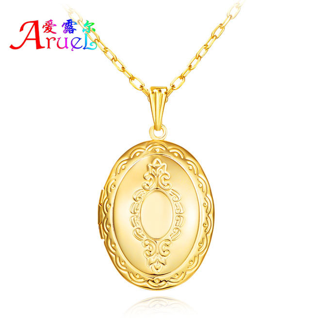 Women/Men Jewellry Lockets Pendant Photo Locket Necklace For Jewelry Making 18K Gold Plated Oval Lover/Couple Pendants Wholesale(China (Mainland))