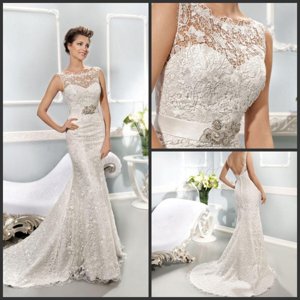 Кружева русалка свадебные платья аппликация из бисера кристалл свадебное платье на заказ спинки Vestido Novia M1095