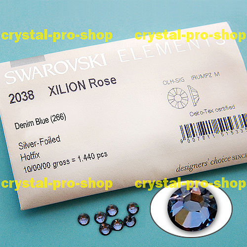 GENUINE Swarovski Elements ss12 Denim Blue ( 266 ) 1440 pcs Iron on 12ss 3mm Hot-fix Flatback Crystal 2038 hotfix rhinestones(Hong Kong)