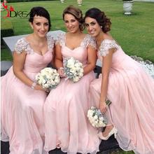 Promotion 2016 Chiffon Long Bridesmaid Dresses Lace Cheap Peach Pink Custom Cap Sleeves Wedding Party Dress S.Dream(China (Mainland))