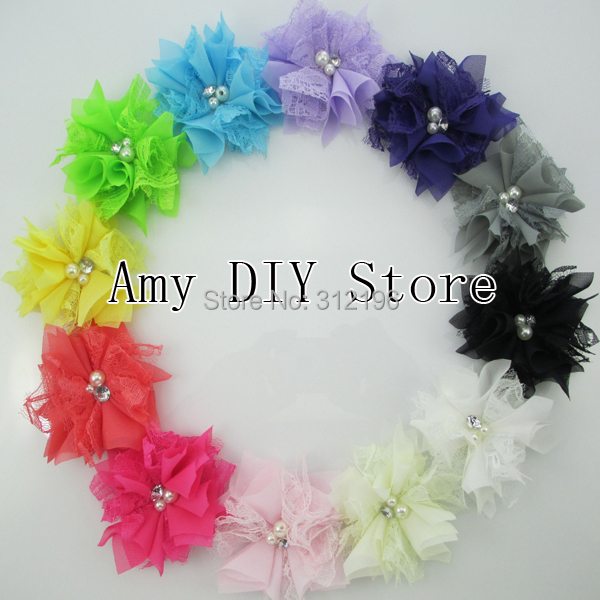 300pcs/lot Chiffon Lace Flower With Pearls & Rhinestones WITH Clip DIY /Hair Acessories Supplies Flowers For Headband Heandwear(China (Mainland))