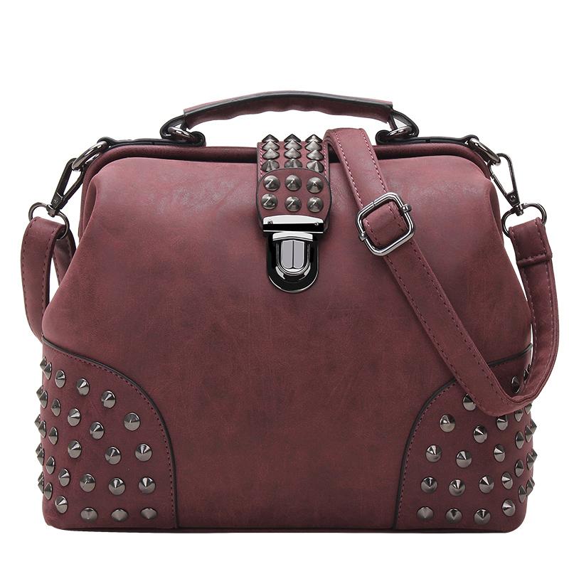 2016 New Style Women Vintage Rivet Doctor Shoulder Bag Casual Pu Leather Messenger Bag High Capacity Street Bag(China (Mainland))