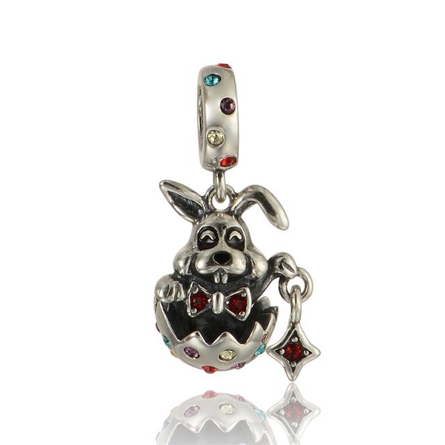 925 - серебристо-ювелирные бусины кристалл г-н кролик кулон бусины Fit Chamilia пандора браслет серебро 925 ювелирных изделий DIY