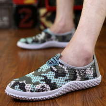 new arrival summer shoes men breathable slip on camouflage print hole sneakers men loafers driver mocassins