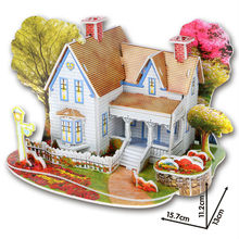 3D puzzle Educational Toys for Children Diy house Paper models,Free Shipping(China (Mainland))