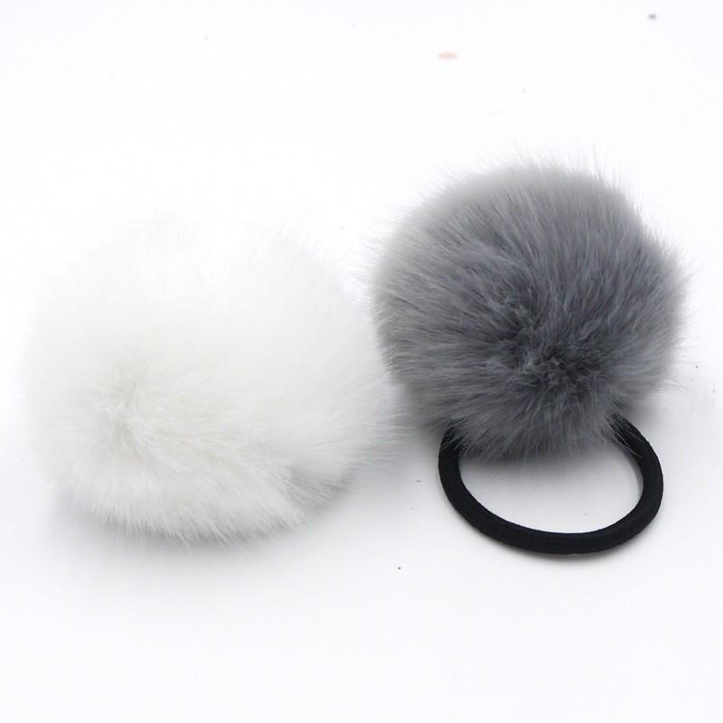 New Women Artificial Rabbit Fur Ball Elastic Hair Band Ponytail Holder Girls Hair Clip Headband Hair Accessories(China (Mainland))