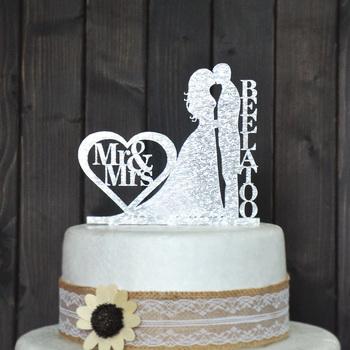 Personalized Wedding Cake Topper, Wedding Decoration, Acrylic silver glitter, Custom wedding cake topper personalized last name