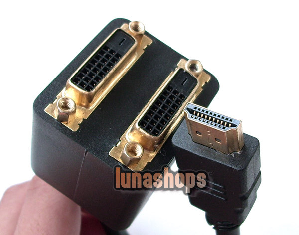 HDMI Male to Dual 2 DVI Female Adapter Splitter Cable LN001649(China (Mainland))